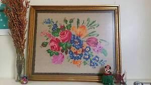 Retro Flower Cross Stitch Artwork in Frame Kew Boroondara Area Preview