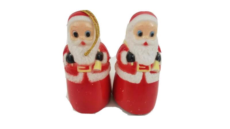 "Vtg Lot 2 Santa Claus Plastic 3-1/2"" Rolling Friction Toys For Repair X-Mas  U4"