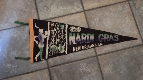 Mardi Gras New Orleans, LA LOUIS Happy & Sad Masks Pennant or Banner circa 1955