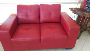 Sofa Red Leather 2 seater Armidale Armidale City Preview