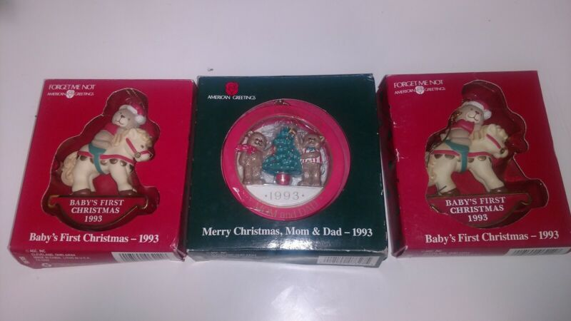 American Greetings Baby's First Christmas Ornament 1993 Bear Rocking Horse lot