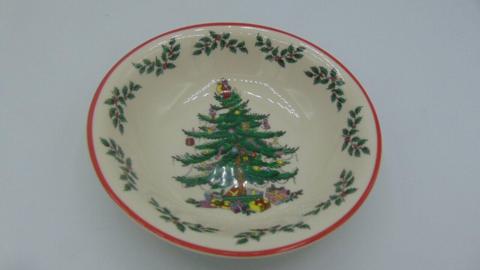"NWT SPODE CHRISTMAS TREE HOLLY RED TRIM 6.5"" CEREAL OR DESERT BOWLXMAS TREE"