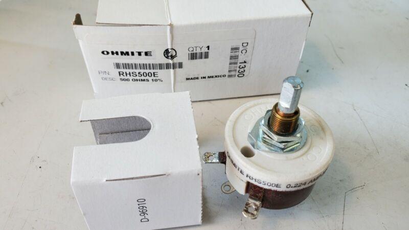 OHMITE Rheostat RHS500E. 500 ohms, 10% NEW in Box.