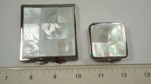 Lee Sands Mother of Pearl Pillbox w mirror Set of 2
