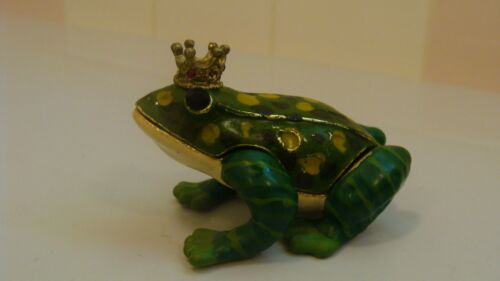 RUCINNI Gold Tone Enamel Frog with Crown Trinket Box