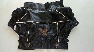 DOG JACKET/COAT Medium - Biker Dude / Motorcycle-Black Faux Leather (Dog Motorcycle Jacket)