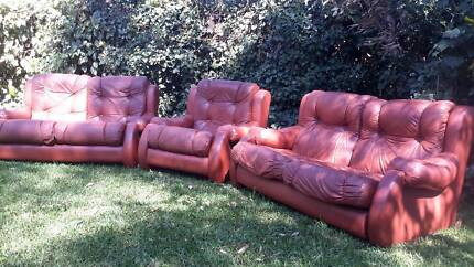 Genuine leather lounge suite.   2 * 2.5 seaters plus 1 single Crafers West Adelaide Hills Preview