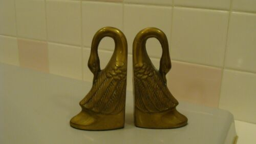 Vintage Brass Beautiful 2 SWAN Bookends made in Korea