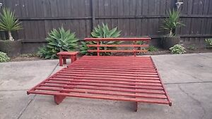 Japanese Style Timber Double Futon Bed Frame w Matching Table Seaford Frankston Area Preview