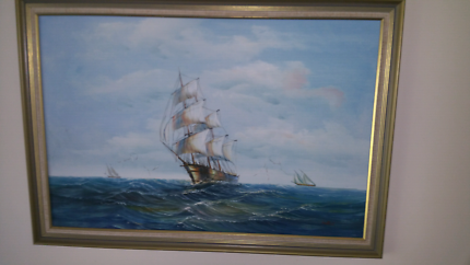 Large Oil Painting 101cm x70cm of Tallship in A1 Condition sign W