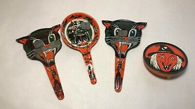 BU041: LOT OF 4 VINTAGE HALLOWEEN METAL NOISE MAKERS