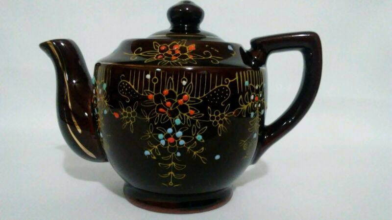 Vintage Brown Teapot W/Embossed Floral Decoration Made In Japan