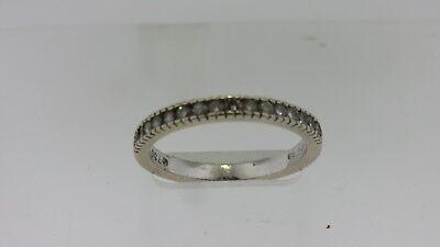 $1070 HIDALGO~18K White Gold Round Diamonds Twist Cable StackWedding Band Ring~
