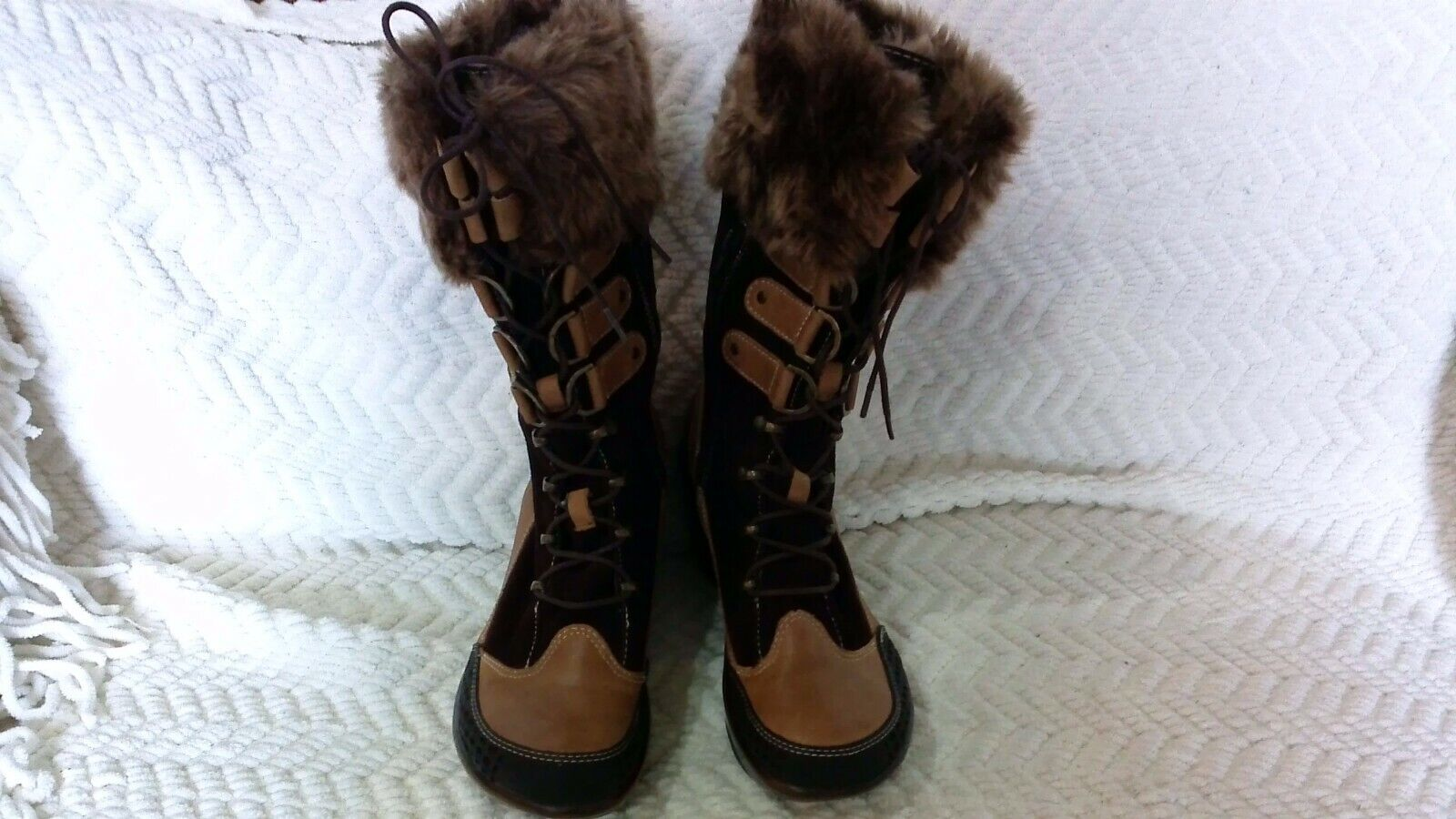 Jambu Cruise Brown Leather Winter Boots Faux Fur Lace-Up Wom