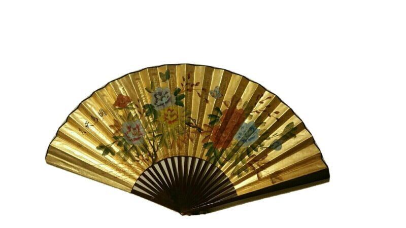 RARE Antique Chinese Fujian Fan Original  Hand Painted Floral Calligraphy Patter