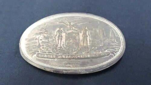 Civil War Reproduction Brass Oval Maryland Belt Buckle With 3 Hooks
