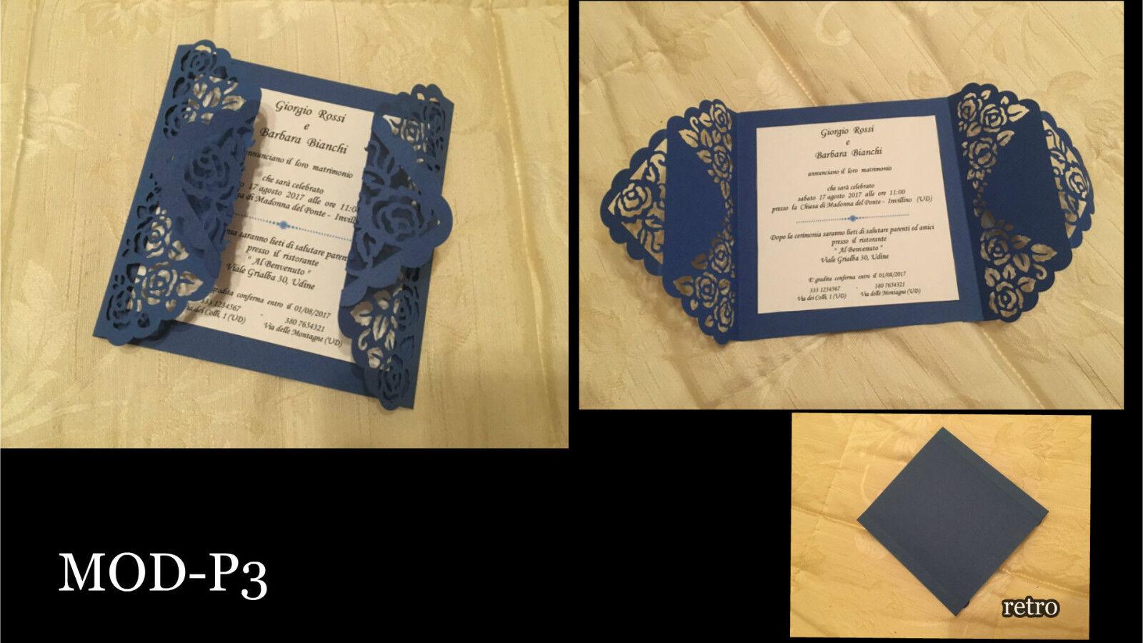 Partecipazioni Matrimonio Nozze, fatte a mano MOD-P3, eleganti, pizzo blu invito