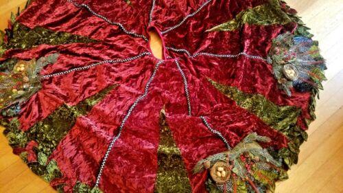 Mackenzie Childs Woodland Tree skirt Velvet! Feathers! Pine cones! Bird nests!
