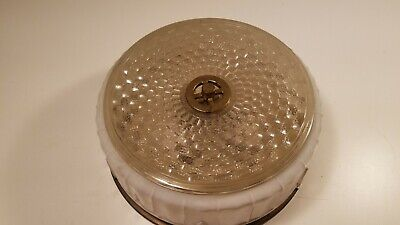 Vintage Mid Century Lightolier Cieling Basket Weave Glass Fixture