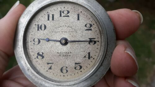 1917 Waltham Watch Co Automobile car clock Pocket 8 Day Working 7J sz 37 NY, NY