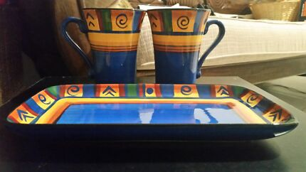 2x mugs and Platter. By Living ART 'KATHERINE' Brassall Ipswich City Preview