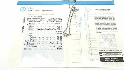 Fine GIA Certified Round 0.71 Ct SI1/H Diamond Platinum Ladies Necklace Pendant