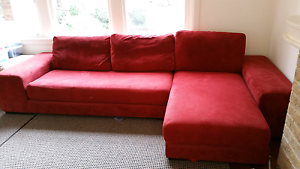Red L-shaped chaise Lounge Sofa Pymble Ku-ring-gai Area Preview