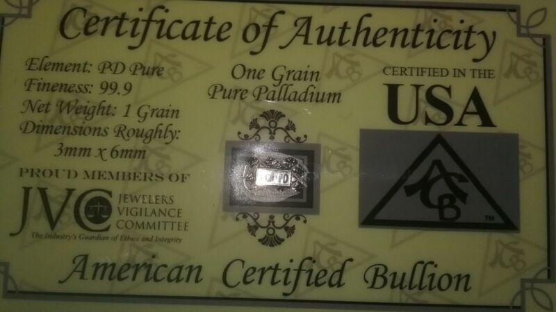 1 Grain Palladium Bullion