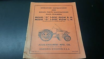 Allis Chalmers G 1 Disc Plow R.h. L.h Manual