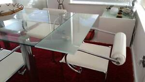 Nick Scali Glass Top Dining Table and Leather Chairs