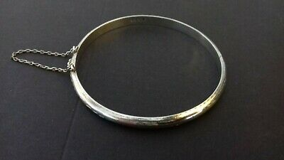 Vintage sterling Silver Engraved Bangle with Safety Chain for sale  Shipping to South Africa