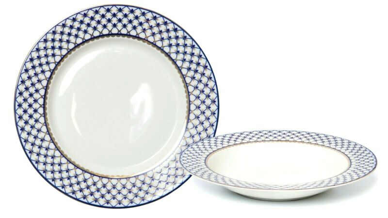"Set of 6 Russian Cobalt Blue Net Soup Plates / Bowls 9"" - St Petersburg 24K Gold"