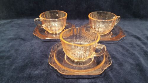 Set of 3 Cups & Saucers Federal Depression Recollection Madrid Pink Glass