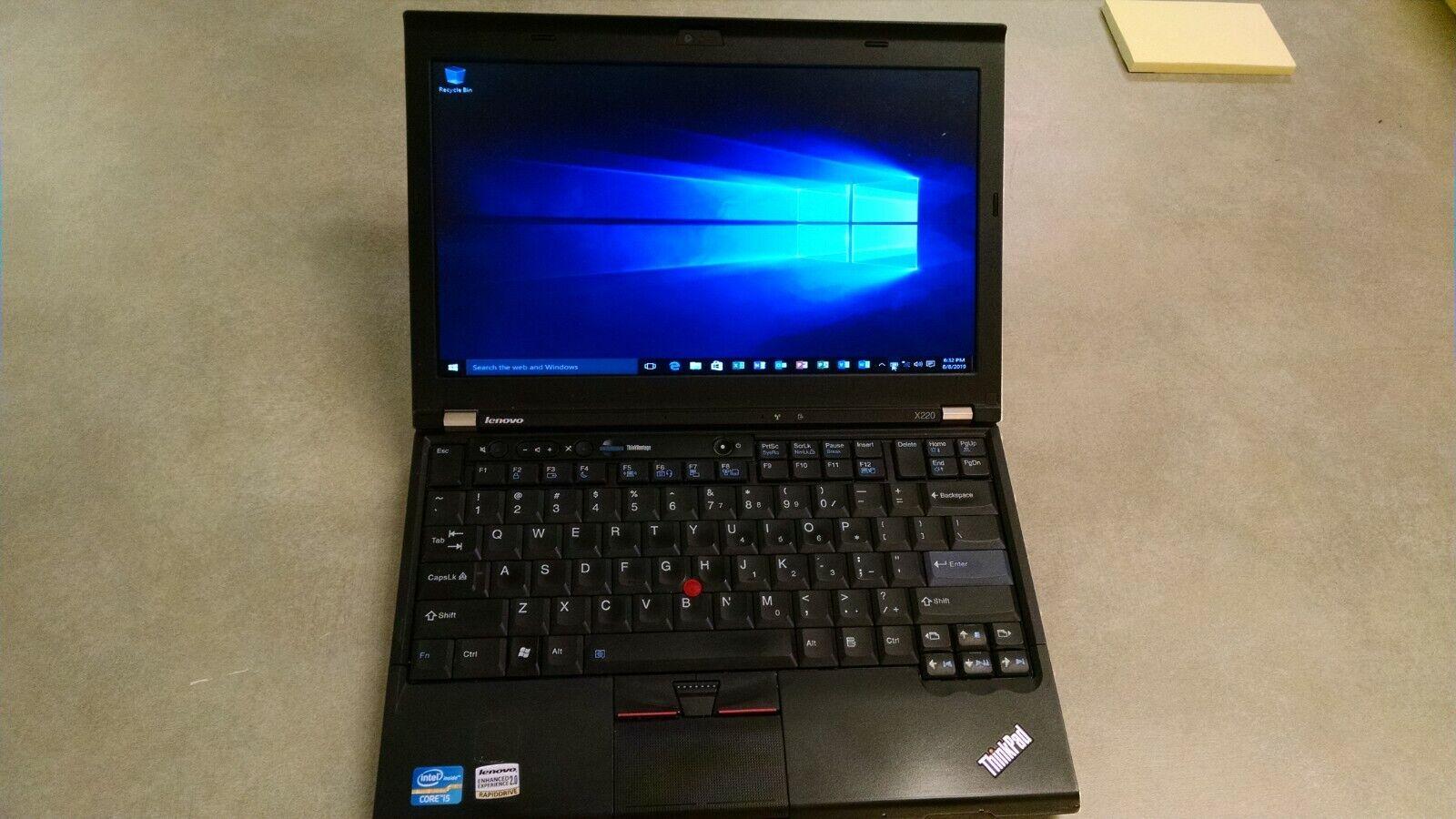 Used Lenovo Thinkpad X220 120GB Hard Drive 8GB RAM Memory Windows 10 Laptop - $179.00