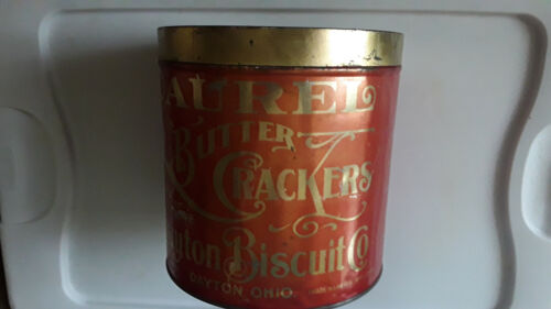 "Laurel Butter Crackers TIN Dayton Biscuit Co. 7 1/8 "" tall by 7 ""Dia DAYTON OHIO"