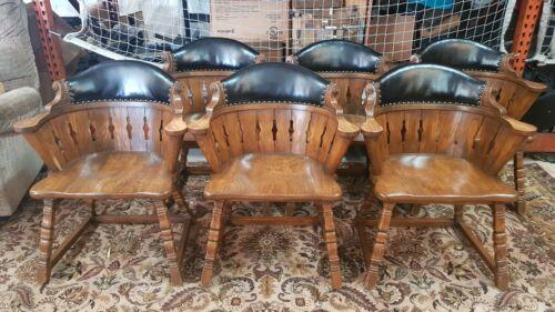 Set of 6 Viking Oak Vintage Antique Black Leather Backed Chairs (OKEB-04-070)