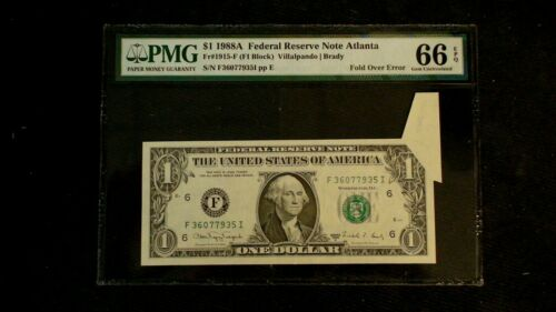 RARE 1988 A $1 Federal Reserve PMG 66 EPQ FOLD OVER  ERROR NOTE ATLANTA Bill!