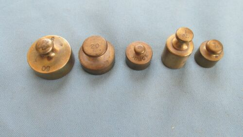 Five Original Brass Assay Balance Weights-1 Ounce To 50 Grams-Mining Assayer