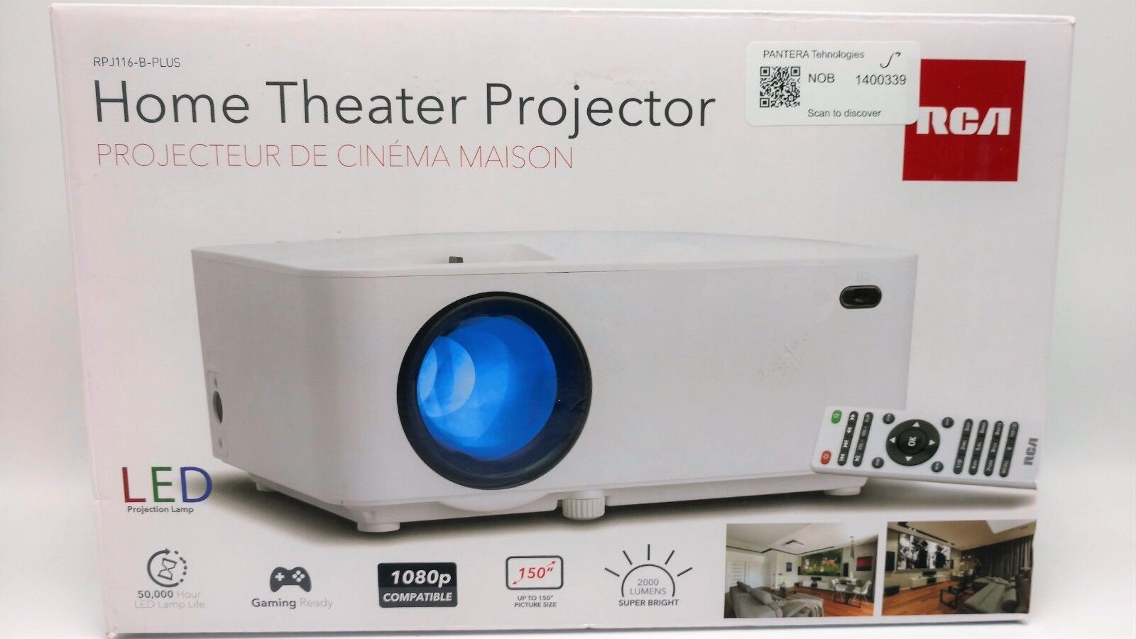 RCA Home Theater Projector Full HD 1080P - 2000 Lumens RPJ116-B-PLUS White