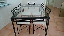 6 seater black & white glass top metal frame dinning table Lemon Tree Passage Port Stephens Area Preview