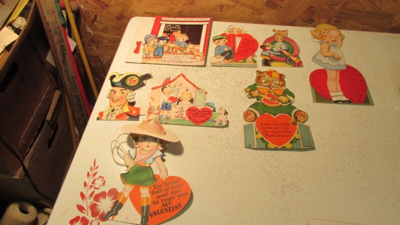 9 Old USA Mechanical Valentines