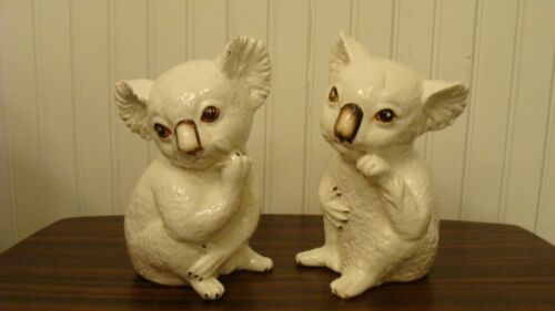 "Adorable Vintage Pair of Ceramic Koala Bears Figurines 7"" Tall"