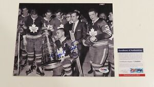 GEORGE ARMSTRONG SIGNED 1967 STANLEY CUP 8X10 PHOTO PSA/DNA COA MAPLE LEAFS