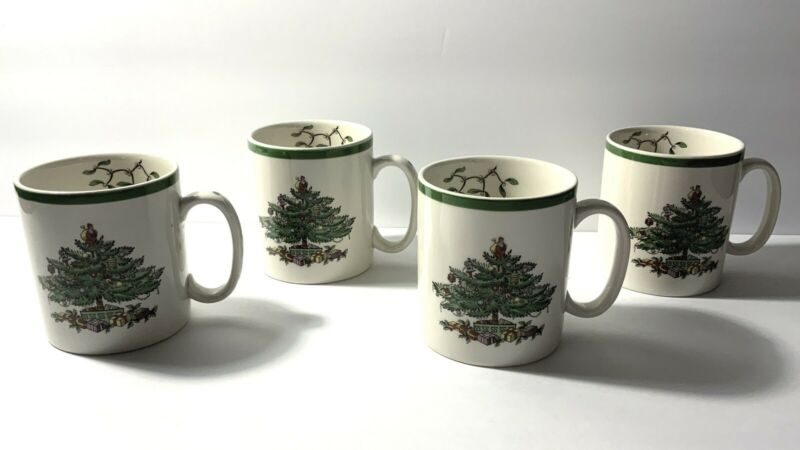 Spode Christmas Tree Coffee Mug-Green Trim-(Set Of 4) S3324-A8