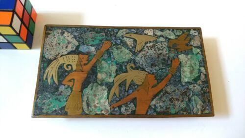 Los Castillos Mexico Copper Brass Silver Stone lined cigarette box Aztec imagery