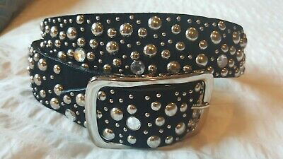Rhinestone Stud Belt (SUEDE RHINESTONE BELT Black Leather Suede Stud Silver Buckle Belt M Excellent )