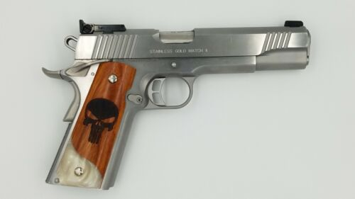 1911 Custom Grip Laser Engraved Punisher on Wood and Faux Pearl Kimber Colt S&W