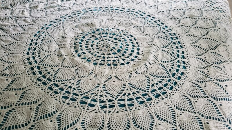 Vintage White Cotton Crochet Lace 72 inch Round Tablecloth