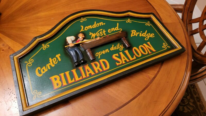 Billiard Saloon London West End Pool Room Bar Sign Man Cave Carter Pool Bridge