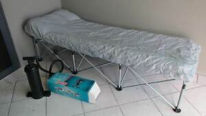 FOLDING CAMP BED WITH INFLATABLE MATTRESS AND HAND PUMP Semaphore Park Charles Sturt Area Preview